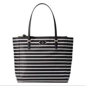 NWT Kate Spade Black White Stripe Wilson Tote Bag